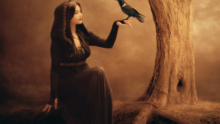 beautiful-fantasy-girl-raven-tree-witch-black-dress_1600x900